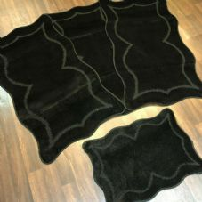 ROMANY WASHABLES NEW GYPSY SET OF 4PC BLACK MATS NON SLIP TOURER SIZE RUGS